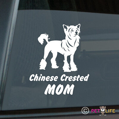 Chinese Crested Mom Sticker Die Cut Vinyl - Puff