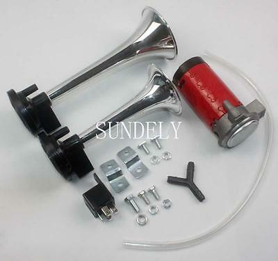 Trumpet chrome plated Air Horn Kit 12 volt 150dB For Car Truck motorcycle