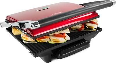 Andrew James Large Red Sandwich Press Contact Panini Maker Health Low Fat Grill