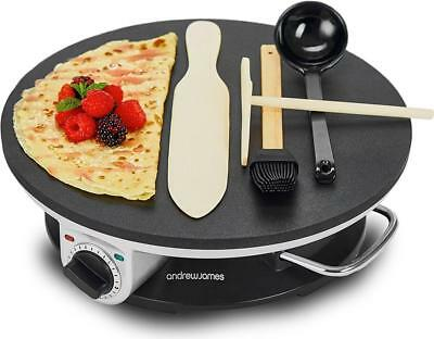 Andrew James Electric Pancake Maker / Crepe Maker Non Stick with Utensils