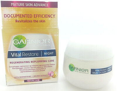 2 X  Garnier Vital Restore Regenerating Replumping Night Cream 50ml  EU Pack