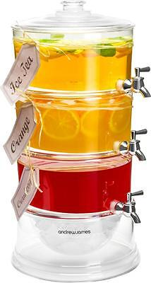 Andrew James Drinks Dispenser with Tap - 3 Tier Plastic & Ice Chamber Stand