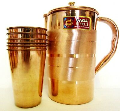 Indian Pure Copper Jug with 6 Tumbler Glass Set for Ayurvedic Healing, Capacity