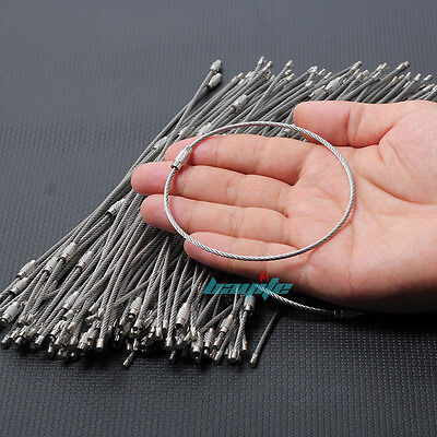 """Wholesale 100PCS 10"""" Long Stainless Steel Wire Keychain Cable Key Ring Chains US"""