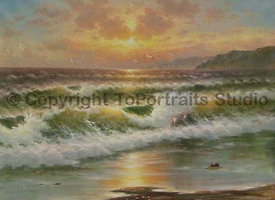 "Waves Crashing on Beach, Original Handmade Oil Painting on Canvas, 36"" x 26"""
