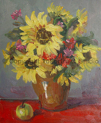 """Vase With Sunflowers, Original Still Life Oil Painting on Canvas Art, 30"""" x 36"""""""