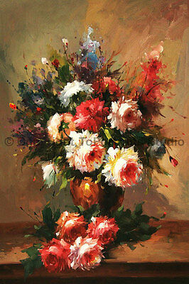 """Vase With Roses, Original Still Life Handmade Oil Painting on Canvas , 24"""" x 36"""""""
