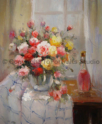 """Vase With Roses & Wine, Original Still Life Oil Painting on Canvas, 30"""" x 36"""""""