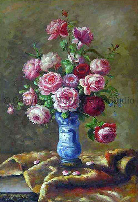 """Vase With Pink Roses, Original Still Life Hand Painted Oil Painting, 24"""" x 36"""""""