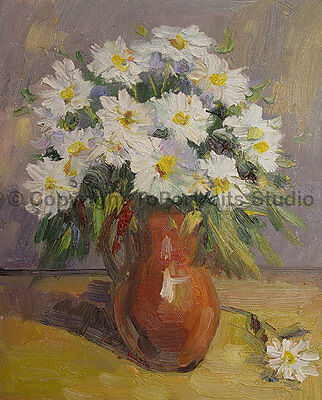 """Vase With Daisies, Original Still Life Oil Painting on Canvas Artwork, 30"""" x 36"""""""