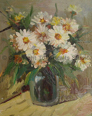 """Vase With Daisies, Original Still Life Oil Painting on Canvas Art, 26"""" x 34"""""""