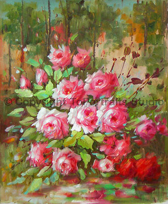 """Assortments Of Pink Roses, Original Still Life Oil Painting on Canvas, 30"""" x 36"""""""