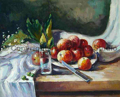 """Apples And A Knife, Original Still Life Oil Painting on Canvas Art, 36"""" x 30"""""""