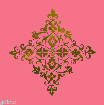 LARGE WALL DAMASK STENCIL PATTERN FAUX MURAL DECOR #1014 (Choose Custom Size)