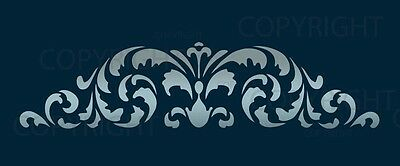 LARGE WALL DAMASK BORDER STENCIL PATTERN MURAL DECOR #1021 (Choose Custom Size)