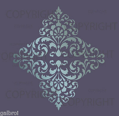 LARGE WALL DAMASK STENCIL PATTERN FAUX MURAL DECOR #1018 (Choose Custom Size)