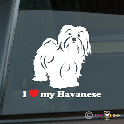 I Love My Havanese Sticker Die Cut Vinyl - Heart Havanese Puppy