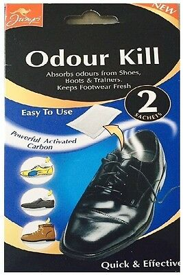 2 Sachets Odour Kill For Shoes Boots Trainers Easy To Use Absorbs Bad Odours
