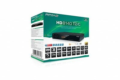 Amiko 8140 T2 /C Saorview Cable Freeview Hybrid Tuner Receiver Box