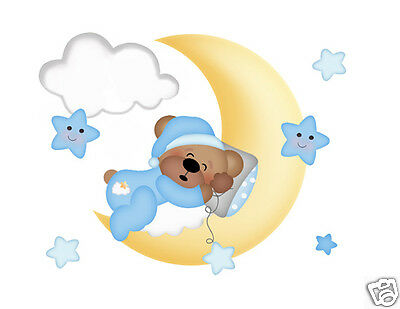 Woodland Teddy Bear Mural Wall Decals Boy Nursery Cloud Moon Star Art Stickers