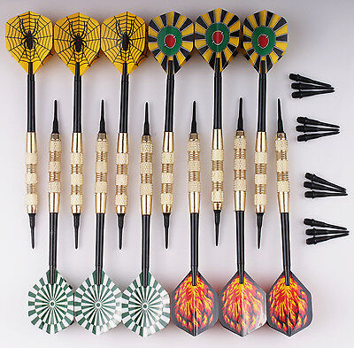 12 X Darts Copper 17g Soft Tip Dart with 36 Extra tips for Electronic Dartboard