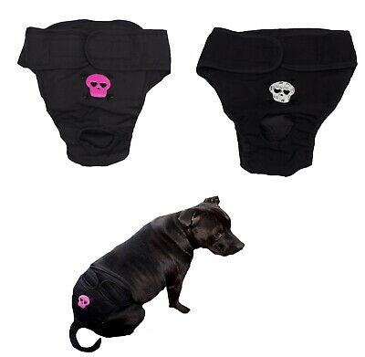 Dog Pants Large Breed Black Skull L XL Easy Fit Male Female Undies Nappy Diaper