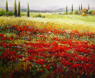 "Wheat Field With Poppies, Original Handmade Oil Canvas Painting Art, 36"" x 30"""