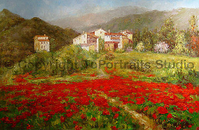 "Tuscany View With Poppy Field, Original Landscape Oil Painting Art , 36"" x 24"""