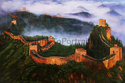 "The Great Wall Of China, Original Landscape Oil Painting on Canvas, 36"" x 24"""