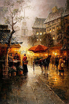 """Street Scene With Horse Cart, Original Landscape Oil Canvas Painting, 24"""" x 36"""""""