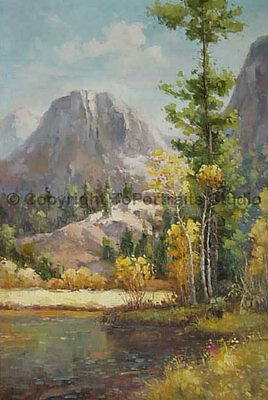 """Original Mountainscape Hand Painted Scenery Oil Painting on Canvas, 24"""" x 36"""""""