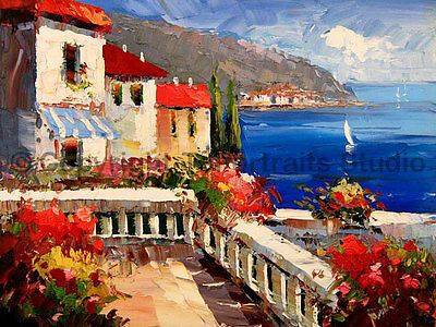 "Original Mediterranean Landscape Oil Painting on Canvas, Fine Art, 34"" x 26"""