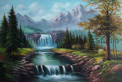 """Mountainscape With Waterfalls, Original Scenery Oil Canvas Painting, 36"""" x 24"""""""