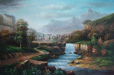 """Mountainscape With Waterfall, Original LAndscape Oil Canvas Painting, 36"""" x 24"""""""