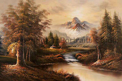 """Mountainscape Sunset With Waterfall, Original Landscape Oil Painting, 36"""" x 24"""""""