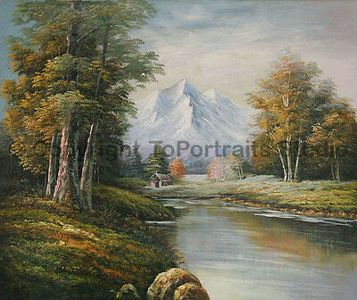 """Mountainscape Stream, Original Scenery Oil Painting on Canvas Artwork, 36"""" x 30"""""""