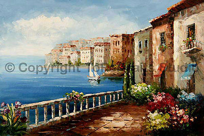 "Mediterranean Seashore Village, Original Landscape Oil Painting , 36"" x 24"""