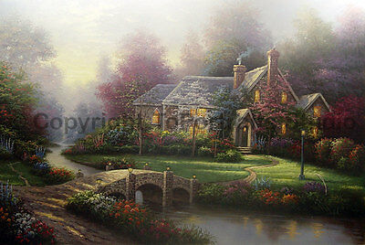 "English Cottage House With Bridge, Original Landscape Oil Painting , 36"" x 24"""