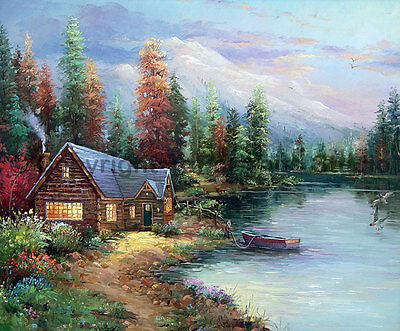 """English Cottage Home With Boat, Original Landscape Oil Painting Art, 36"""" x 30"""""""
