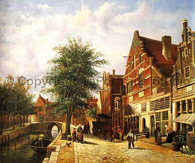 "Dutch Town With Canal, Original Landscape Oil Painting on Canvas Art, 36"" x 30"""