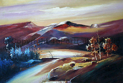 """Decorative Mountainscape Oil Painting on Canvas, Hand Painted Art , 36"""" x 24"""""""