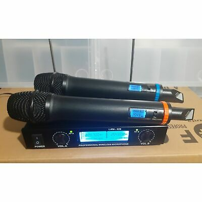 "Coppia Radio Microfoni Professionali Wireless Uhf ""Pro"" Con 3 Display Bi-Canale"