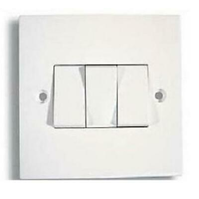 100 X 3 Gang 2 Way Triple Light Switch White Plastic10 Amp Single Plate