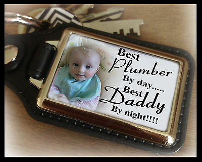 Personalised keyring, best plumber and best Daddy, birthday christmas gift.