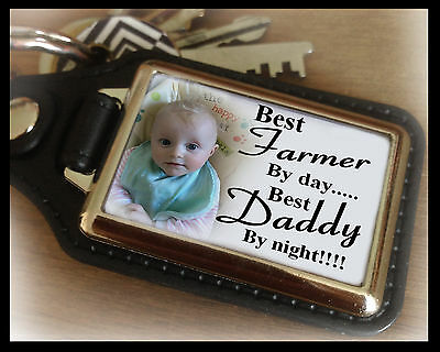 Personalised keyring, best farmer and best Daddy, birthday christmas gift.
