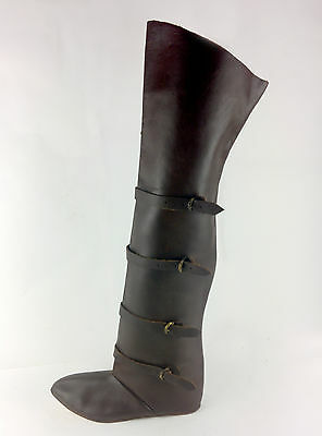 Medieval thigh-high leather riding boots reenactment LARP UK Stock Wotr
