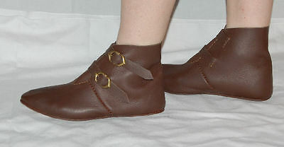 Medieval footwear, leather ankle boots w. two brass buckles, reenactment, LARP