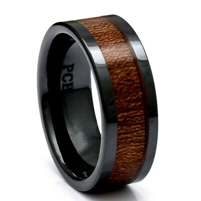 Mens Wedding Ring Koa Wood Black Ceramic 9mm Comfort Fit Band Inlay 8-15 Hawaii