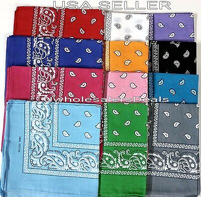 12 (1 Dozen) Paisley Print Bandana Scarf Head Wrap 100% Cotton U Pick Color NEW