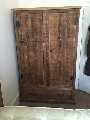 Rustic Pine Double Wardrobe With Drawers (can be made any size)